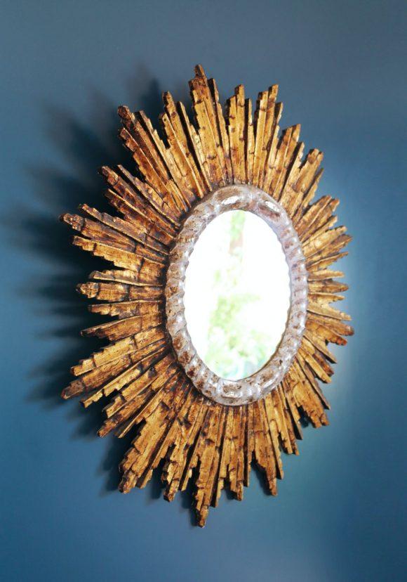 Espectacular espejo sol de madera tallada, dorada y plateada, vintage años 60.