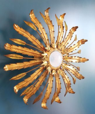 Gran lámpara o aplique sol en forja dorada. Convertible. Vintage años 60s.
