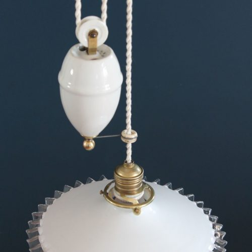Lámpara antigua sube y baja, con sistema de polea y contrapeso, completa. Vintage años 20s-30s.