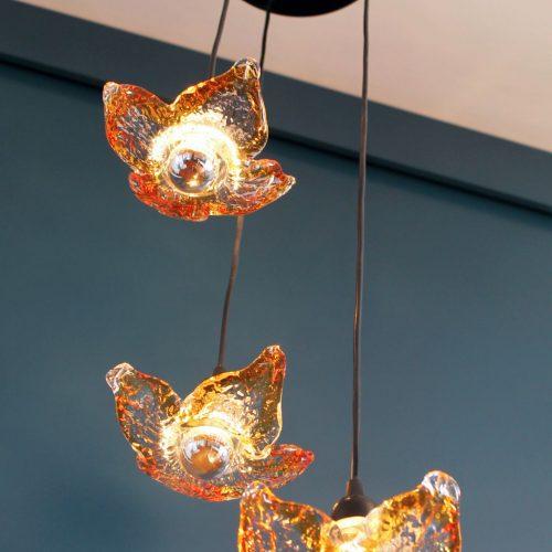 FLORES DE CRISTAL - Lámpara italiana de cristal de Murano, vintage 70s-80s.