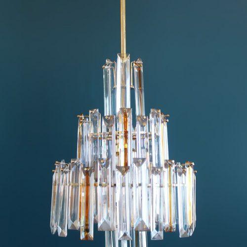 VENINI MURANO - gran lámpara chandelier QUADRIEDRI - cristal ámbar. Italia, vintage 70s.
