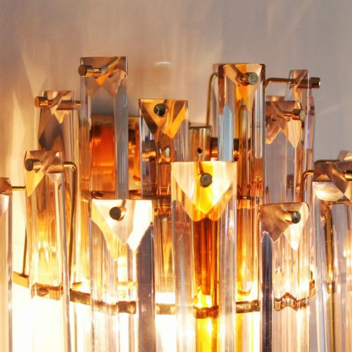 VENINI MURANO - pareja de apliques QUADRIEDRI - cristal ámbar. Italia, vintage 70s.