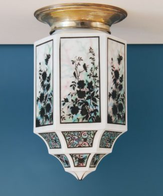 FLORES, PÁJAROS Y MARIPOSAS - exquisito farolillo antiguo Art Deco de cristal y latón plateado - 1920.