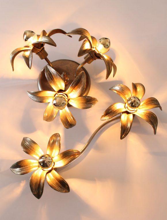 FLORES DE BRONCE - juego de aplique y lámpara con flores, vintage 70s.
