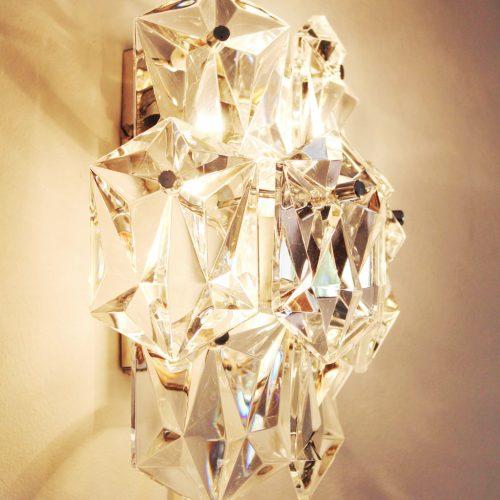 KINKELDEY LEUCHTEN: pareja de apliques de pared de cristal, vintage años 70s.