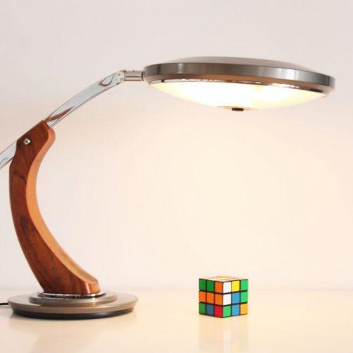 FASE PRESIDENT - Lámpara de despacho en acero y madera, vintage 60s-70s. Lacado gris. Excelente estado.