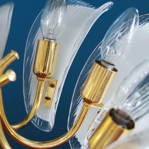 1 de 2 - MURANO - Lámpara chandelier de techo, hojas de cristal y latón dorado. Vintage años 80s. PAREJA DISPONIBLE.