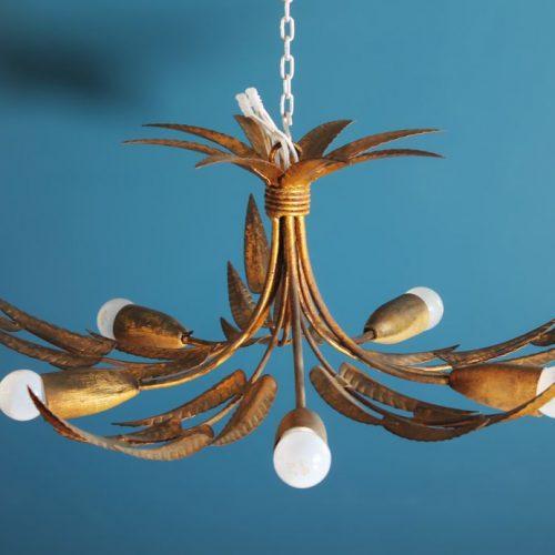 FERRO ART - Lámpara de techo en forja dorada. Ramas y hojas. Vintage 60s.