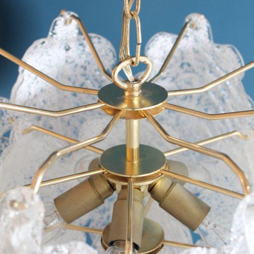 Murano - Lámpara de techo con hojas de cristal, vintage años 70s.