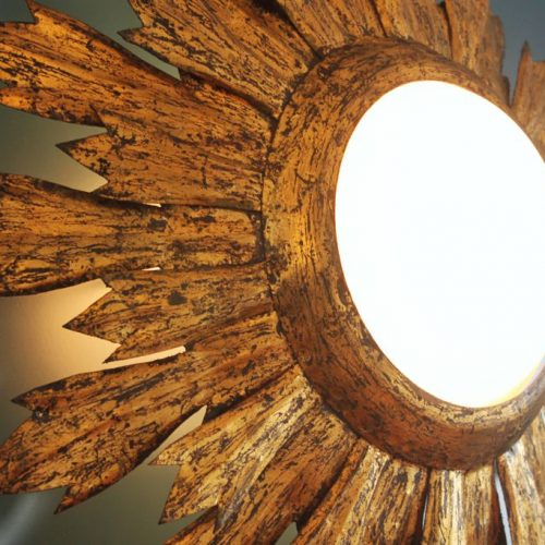 Lámpara plafón o aplique sol en forja dorada al pan de oro. Convertible en espejo. Vintage años 60.