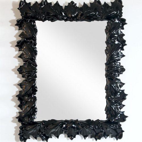 Espejo con marco de hojas de cerámica de Manises, C. Hispania, vintage 50s-60s.