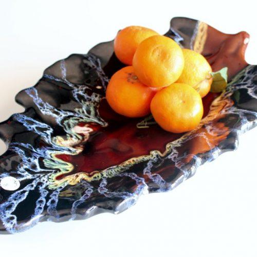 Fuente o centro de mesa de cerámica de Vallauris, FM, vintage años 60.