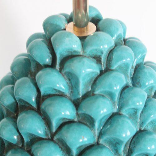 PIÑA AZUL - Gran lámpara vintage de cerámica de Manises en azul turquesa. Vintage 50s-60s.
