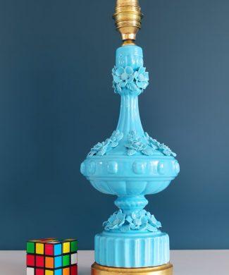 Lámpara de cerámica de Manises, en color azul. Vintage años 50s- 60s.
