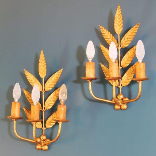 Pareja de apliques de forja dorada - ramas y hojas - vintage años 50s-60s.