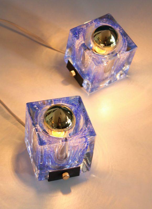 Pareja de apliques de cristal de Murano, atribuidos a Venini. Vintage 70s.