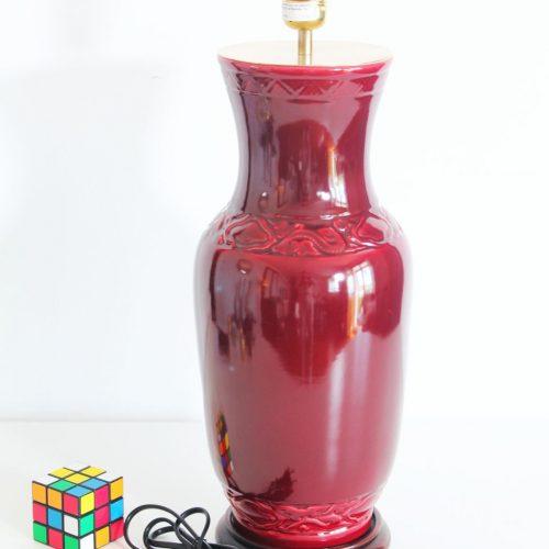 Gran lámpara de cerámica en forma de tibor chino sobre peana de madera, vintage 50s-60s.