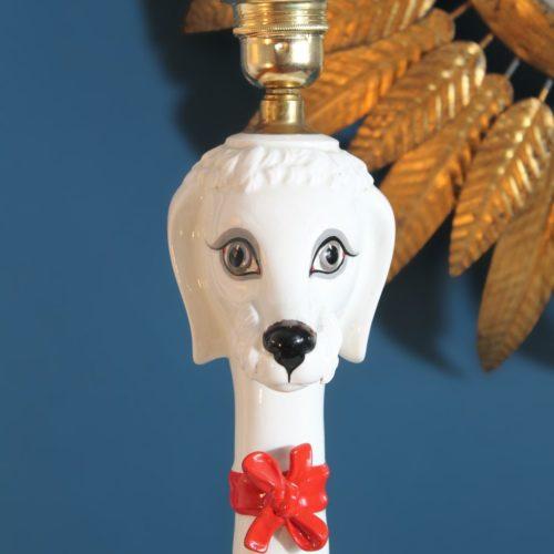 Perro. Lámpara de cerámica de Manises, C. Bondía, vintage años 60.