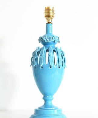 Lámpara de cerámica calada de Manises en color azul, vintage años 50-60.