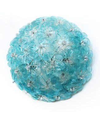 BAROVIER & TOSO - Exquisita lámpara de cristal de Murano, con flores azules, vintage años 70s.