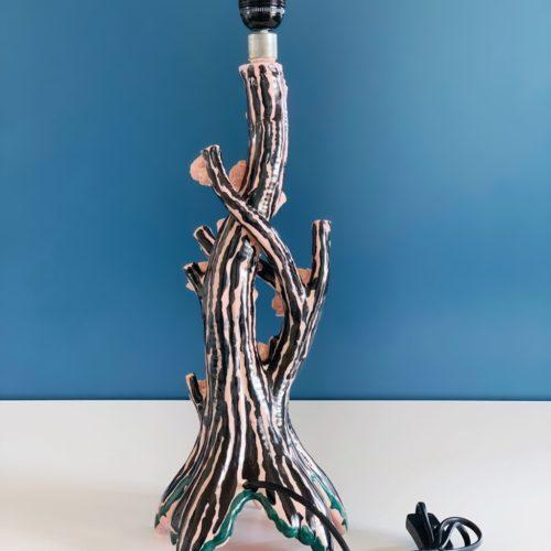 Almendro en flor - escultural lámpara de cerámica de Manises - pieza única - vintage 50s-60s.