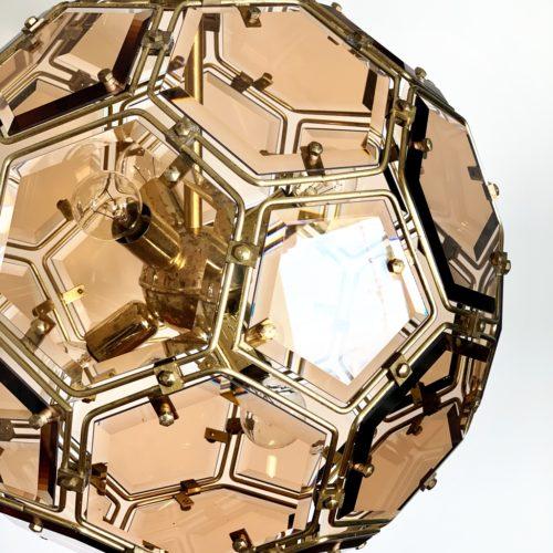 ICOSAEDRO Espectacular lámpara de techo de metal y cristal, esfera geométrica, vintage 70s.