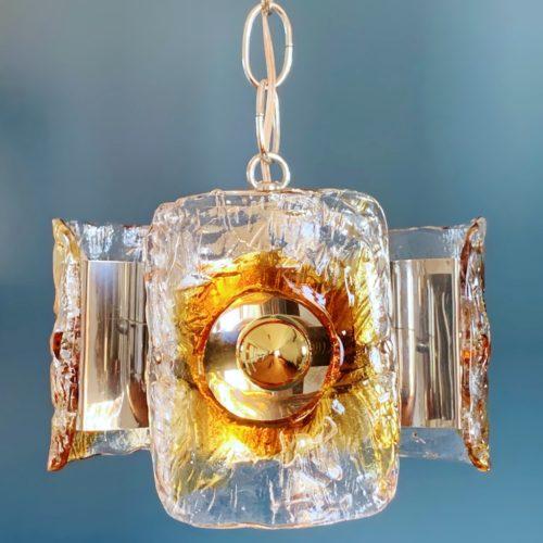 Murano. Lámpara de techo de acero cromado y cristal de Murano, vintage 60s-70s.