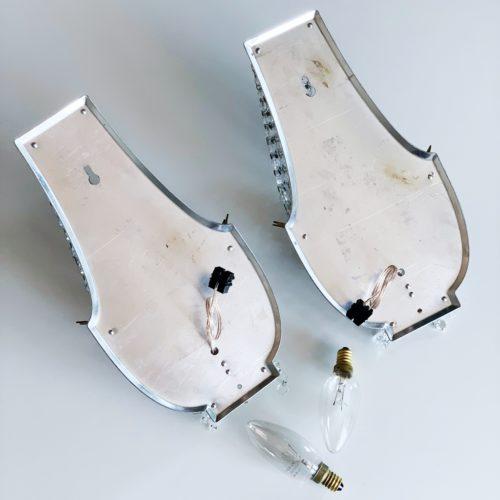 Pareja de apliques de lágrimas de cristal estilo Montgolfiere, vintage años 50s.