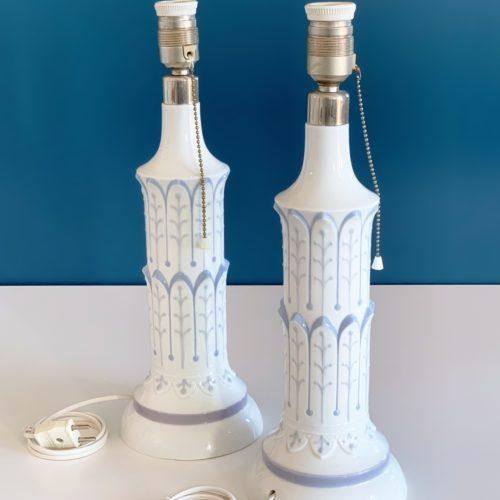"""LLADRÓ - Pareja de lámparas de porcelana, modelo """"Columna torre Pisa"""", descatalogadas, vintage años 70."""