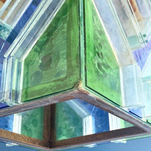 Gran farol de cristales de color, vintage años 60s.