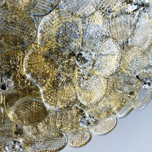BAROVIER & TOSO - Exquisita lámpara de mesa de cristal de Murano, con flores de cristal y polvo de oro, vintage años 70s.