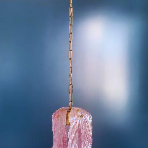 Murano - Fagerlund - Orrefors - Lámpara de techo con hojas de cristal rosa, vintage años 70s.