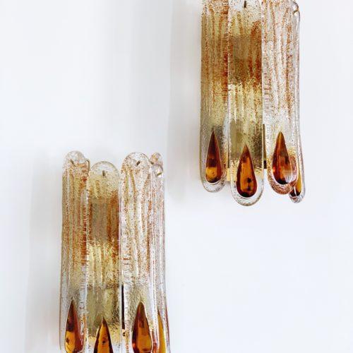 MAZZEGA MURANO - pareja de apliques - cristal con gotas ámbar. Italia, vintage 70s.