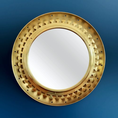 Espectacular espejo sol retroiluminado, latón dorado. Vintage 50s-60s.