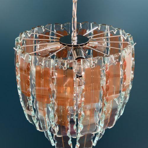 Fontana Arte - lámpara chandelier de cristal tallado. Italia, vintage 60s.