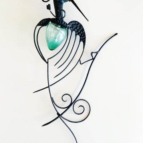 Pájaro - Lámpara de exterior, aplique de pared de forja y cristal, vintage 50s.