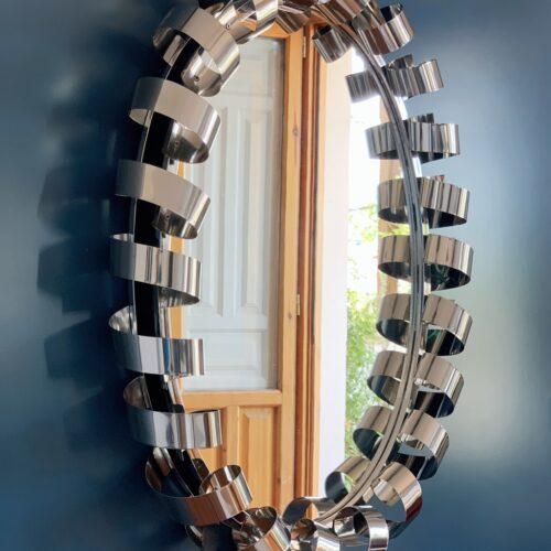 Espejo retroiluminado en acero cromado, Space Age vintage años 60.