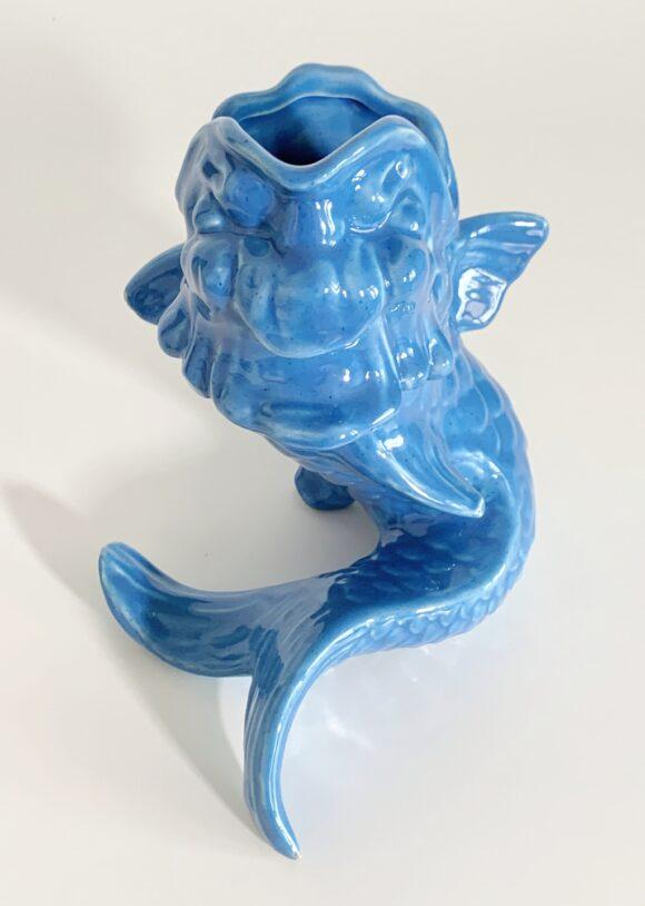 PEZ AZUL - Jarrón de cerámica de Manises, Hispania. Vintage años 50-60.