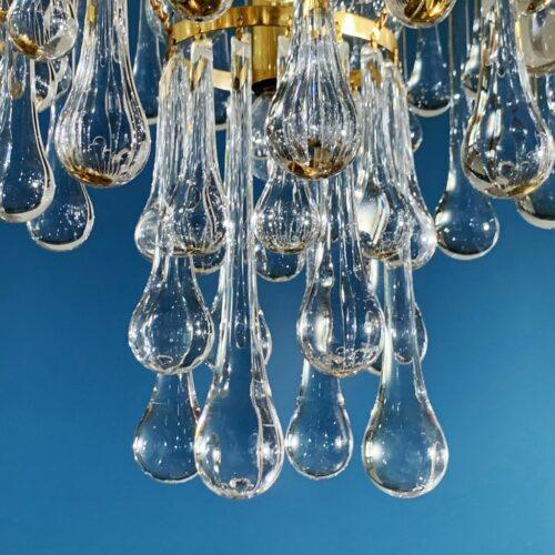MURANO - VENINI - Lámpara de techo de lágrimas de cristal y latón dorado. Vintage años 60s.