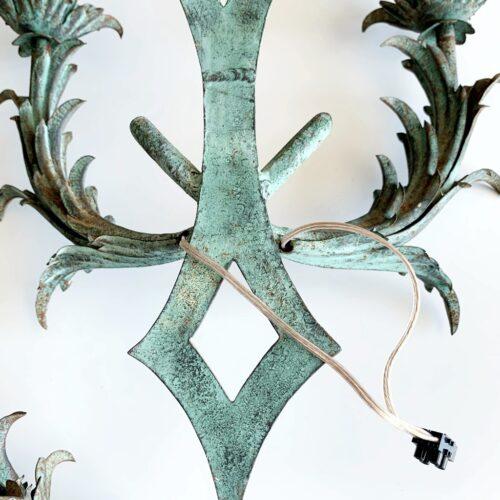 Pareja de apliques de forja - ramas y hojas - vintage años 50s-60s.