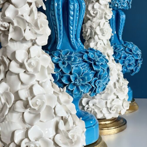 Preciosa pareja de lámparas de cerámica azul de Manises (Valencia). Vintage años 50s-60s.