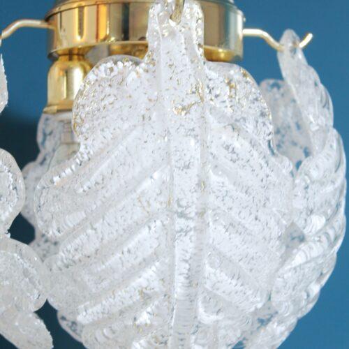 """Pareja de lámparas de mesa de cristal """"rugiadoso"""" de Murano, vintage años 70s."""