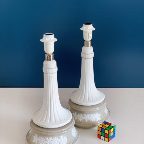 Pareja de lámparas de porcelana LLADRÓ, modelo FARO D. MINERVA. Vintage años 70s.