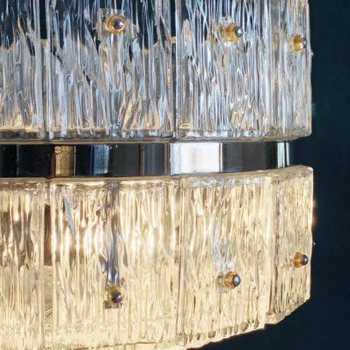Lampara de techo de cristal de hielo y acero cromado - estilo Doria, Kalmar, Kindeldey...Alemania, vintage años 60s-70s.