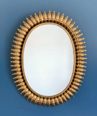 Espejo sol dorado, vintage años 60. PAREJA DISPONIBLE.