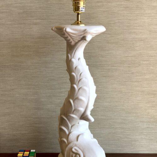 GRAN PEZ - Lámpara de cerámica de Manises en forma de pez de estilo barroco. Vintage 50s-60s.