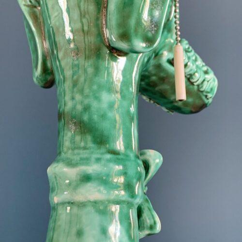 PERRO VERDE. Lámpara de cerámica de Manises, C. Bondía, vintage años 60.