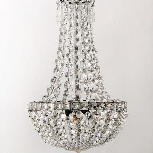 Excelente lámpara saco o Montgolfière de cristal tallado, en perfecto estado, vintage, 1ª mitad siglo XX.