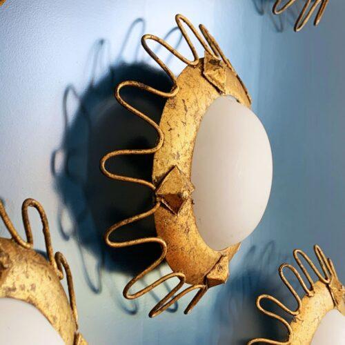 Constelación de lámparas sol de forja dorada al pan de oro. Vintage 60s. Juego de 4 unidades.