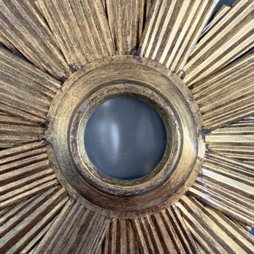 Lámpara sol o aplique de pared en forja dorada, convertible en espejo retroiluminado. Vintage años 60s.